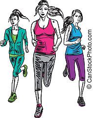 esboço, de, mulheres, maratona, runners., vetorial, ilustração