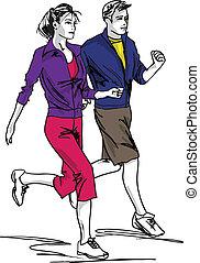 esboço, de, par, corredores maratona