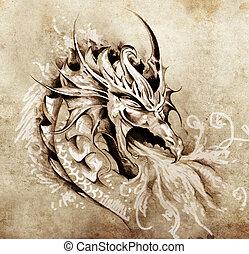 esboço, de, tatuagem, arte, raiva, dragão, com, branca, fogo