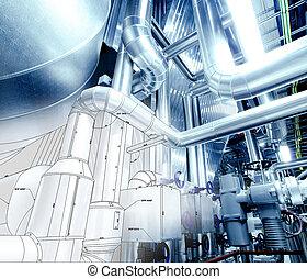esboço, de, tubagem, desenho, misturado, com, equipamento industrial, foto