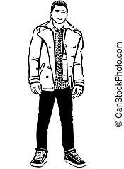 esboço, de, um, jovem, bonito, homem, com, casaco