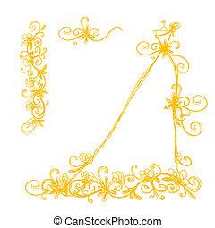 esboço, de, vestido nupcial, com, floral, ornamento, para, seu, desenho