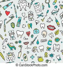esboço, dental, seamless, padrão, desenho, seu