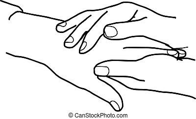 esboço, desenhado, isolado, cima, ilustração, mão, experiência., vetorial, segurar passa, fim, branca, cuidado