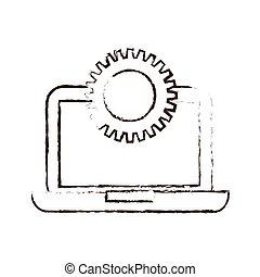 esboço, desenhar, laptop, tecnologia, engrenagens, colaboration, trabalho