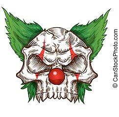 esboço, desenho, cranio, fundo