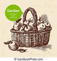 esboço, desenho, experiência., vindima, mão, desenhado, jardim
