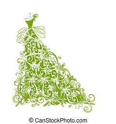 esboço, desenho, floral, vestido verde, seu