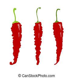 esboço, desenho, pimentas, pimentão, seu, vermelho