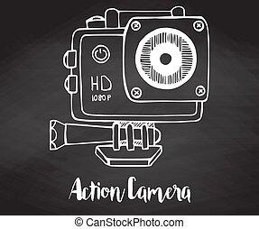 esboço, desporto, câmera, estilo, ilustração, mão, vetorial, câmera, ação, desenhado, chalkboard..