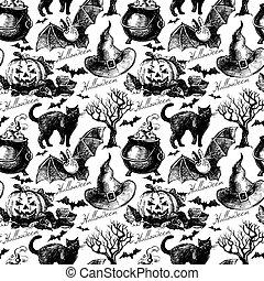 esboço, dia das bruxas, pattern., seamless, mão, vetorial, desenhado