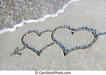 esboço, dois, contra, onda, areia, corações