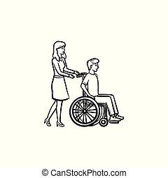 esboço, doodle, cadeira rodas, mão, pessoa, disable, desenhado, icon.