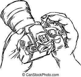 esboço, doodle, isolado, ilustração, mão, vetorial, white., segurando, desenhado, câmera