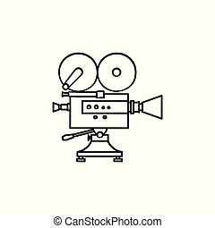 esboço, doodle, mão, câmera, vídeo, desenhado, icon.