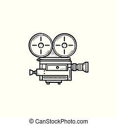 esboço, doodle, mão, câmera, vídeo, retro, desenhado, icon.