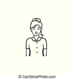 esboço, doodle, mão, desenhado, enfermeira, icon.
