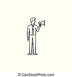 esboço, doodle, mão, desenhado, homem negócios, icon., megafone