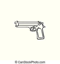 esboço, doodle, mão, desenhado, icon., handgun