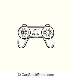 esboço, doodle, mão, jogo, desenhado, joystick, icon.