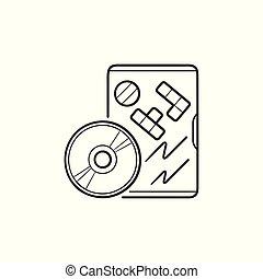 esboço, doodle, mão, jogo, dvd, desenhado, icon.