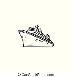 esboço, doodle, mão, mar, cruzeiro, desenhado, navio, icon.
