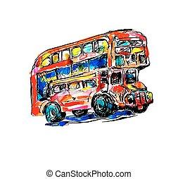 esboço, doodle, símbolo, -, aquarela, londres, autocarro, quadro, vermelho