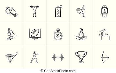 esboço, doodle, set., competição, mão, desenhado, desporto, ícone