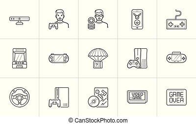 esboço, doodle, set., mão, jogo, vídeo, desenhado, joystick, ícone