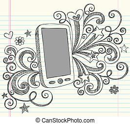 esboço, doodle, telefone pilha, vetorial, pda