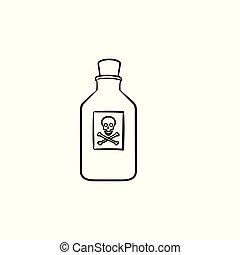 esboço, doodle, veneno, mão, desenhado, icon.