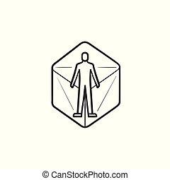esboço, doodle, virtual, mão, pessoa, desenhado, icon., realidade