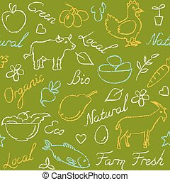 esboço, eco, padrão, seamless, símbolos, alimento, estilo