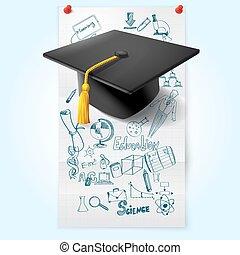 esboço, educação, chapéu