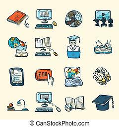 esboço, educação, online, ícones