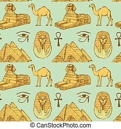 esboço, egípcio, vindima, seamless, estilo, padrão