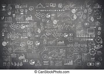 esboço, elementos, finanças, negócio, quadro-negro,...