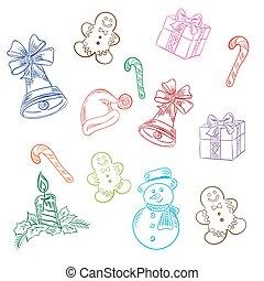 esboço, elementos, ilustração, vetorial, natal, estilo