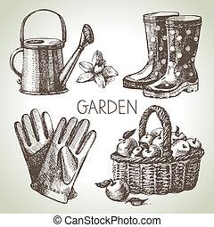 esboço, elementos, jardinagem, set., mão, desenho, desenhado