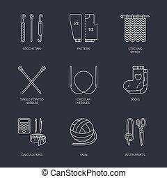 Esboço, elementos, tricotando, gancho, ícones, convites, Símbolo, alfinete, agulha, cobrança, mão, notas, locais, feito, vetorial,  crochet, linha, bandeira,  -yarn