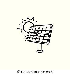 esboço, energia, mão, solar, desenhado, icon., indústria