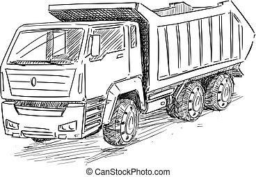 esboço, entulho, ilustração, vetorial, caminhão, desenho