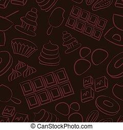 esboço, eps10, ícones, doce, seamless, chocolate, doodle, padrão