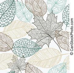 esboço, eps10, padrão, folhas, estilo, seamless, experiência., file.