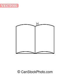 esboço, eps10, vetorial, livros, aberta, ícone, estoque, isolado, símbolo, branca, illustration., experiência., estilo, livro