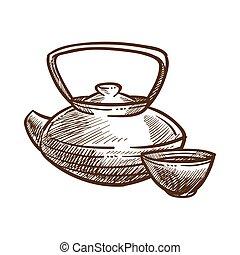 esboço, esboço, chá, ilustração, vetorial, monocromático, fazer, bule