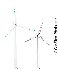 esboço, esboço, cor, realístico, turbina, vento