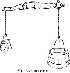 esboço, esboço, de, 18º século, jugo, com, baldes