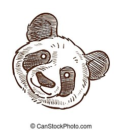 esboço, esboço, ilustração, rosto, vetorial, closeup, monocromático, panda