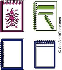 esboço, esboço, jogo, estilo, cor, livro, ícone